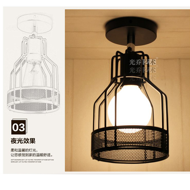 E27 LED Cage Shaped Industrial Retro Ceiling Light Iron Material ...
