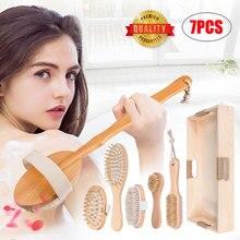 4/5/6/7pcs Body Massager Back Face Shower Brush Boar Bristles Soft Bath Long Wooden Handle Dry Skin Exfoliating