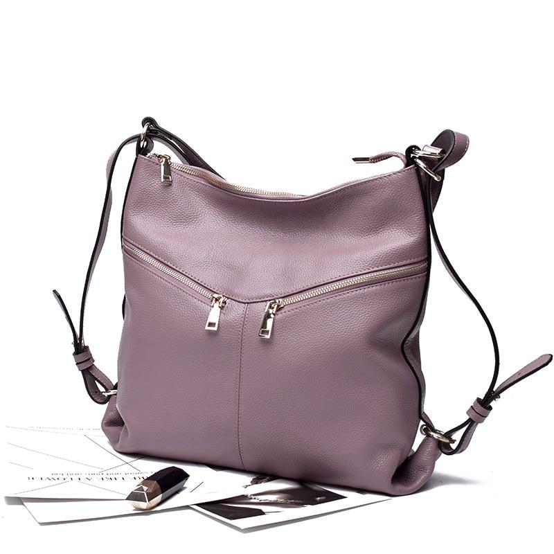 Fashion 2020 European Style 100% Soft Genuine Leather Women\'S Shoulder Bags Soft Real Cowhide Cross Body Messenger Tote Handbag