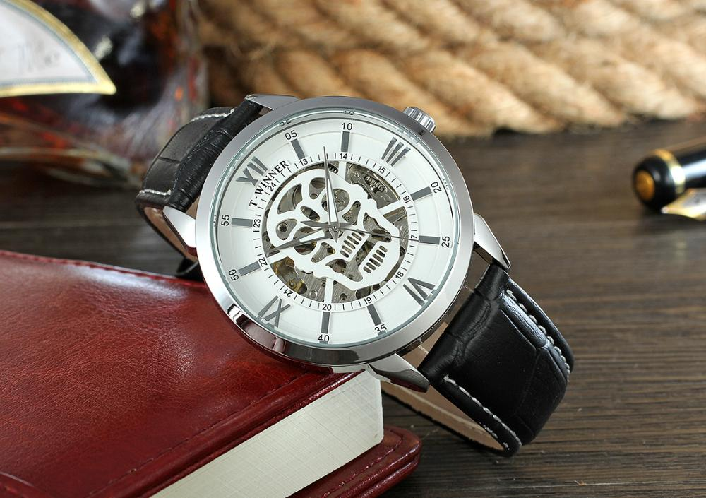 New Arrvial With Packing Box Watch Genuine Leather Strap Halloween Decorations Skeleton Automatic Mechanical Brand Mens Watch