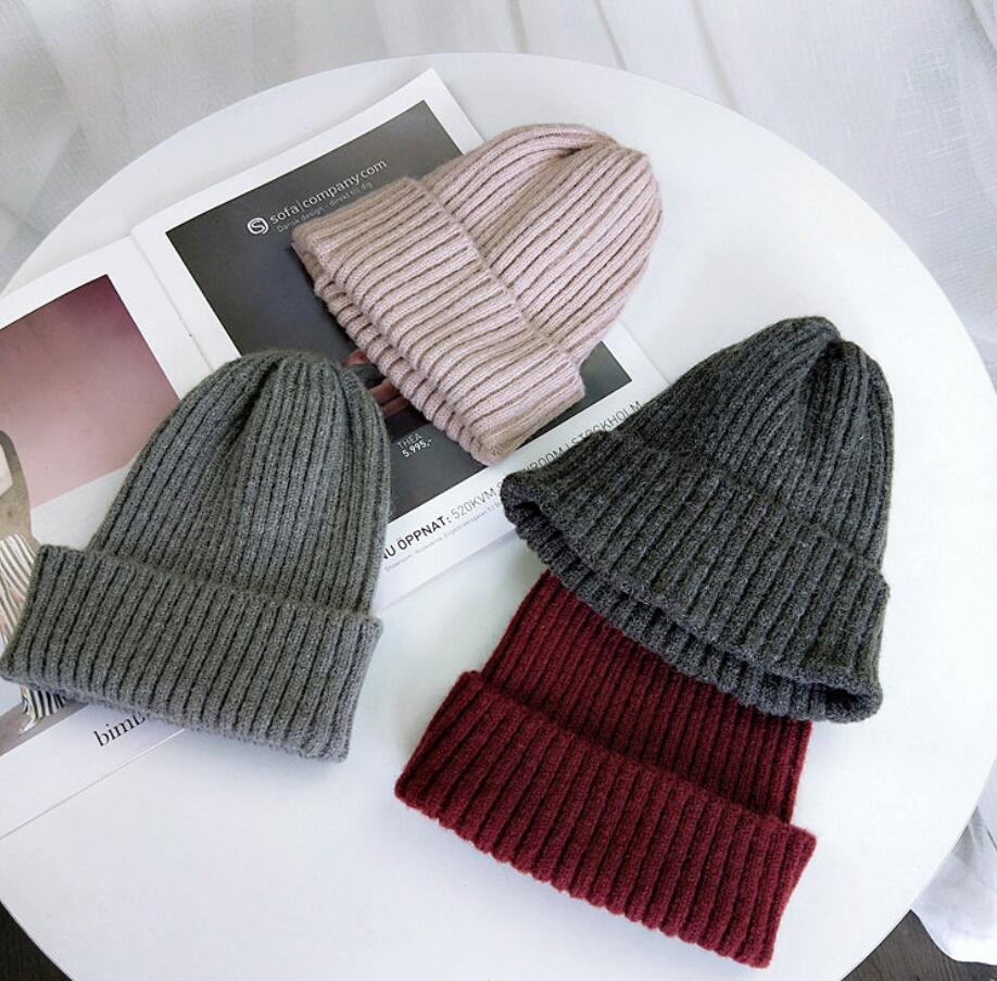 Pink Black Grey Thick Wool Knitted Hats   Skullies     Beanies   Flanging For Women Ladies Unisex Autumn Winter Warm Female Caps New