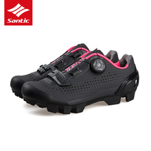 Santic Women MTB Cycling Shoes Road Mountain Bike Sneakers Riding Bicycle Shoes Rotating Lock Sneaker Outdoor Cycling Shoes Lady boodun breathable mountain cycling shoes leisure sports outdoor mtb road bike bicycle lock riding shoes women