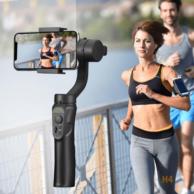 H4 lisse support de stabilisation de téléphone intelligent stabilisateur de cardan de poche pour iPhone XS XR X 8Plus 8 7P 7 Samsung et caméra d'action