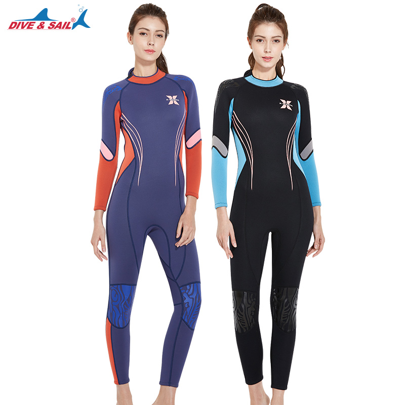 DIVE&SAIL Warm Diving Suit 3MM Neoprene SCR One-piece Full Body Diving Wetsuit For Women Surfing Womens Wet Suit For Swimming sbart 3mm wetsuit scuba diving suit neoprene wetsuit men fishing surfing wetsuits full body one piece dive surf wet suits