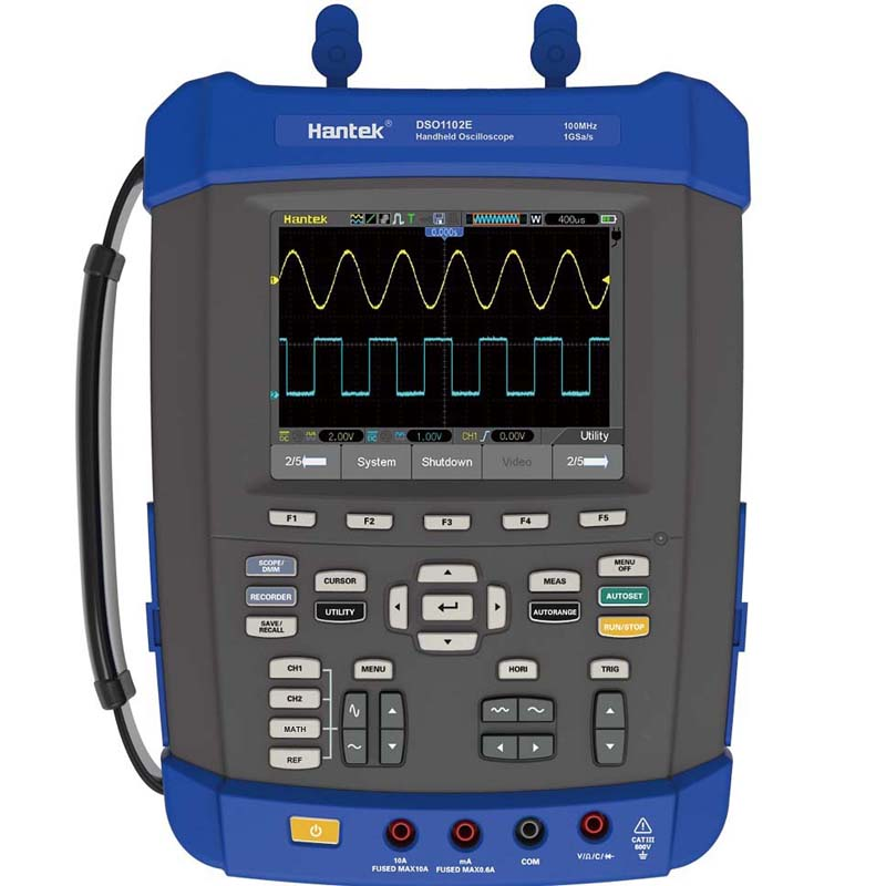 Hantek DSO1102E 100MHz Oscilloscope digital handheld oscilloscope 1GS/s sample rate 6000 Counts DMM with analog bargraph updated from dso 1060 hantek dso1062b handheld oscilloscope 2 channels 60mhz 1gsa s sample rate 1m memory depth 6000 counts dmm
