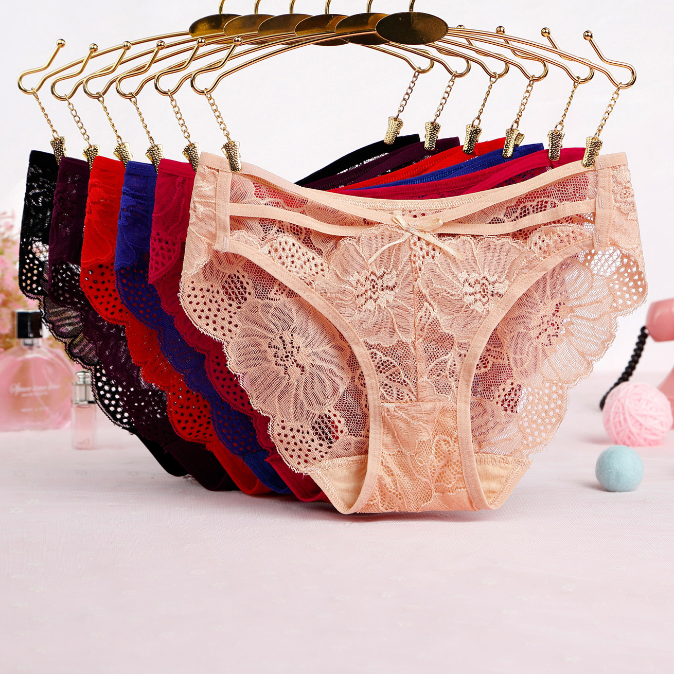 7color Gift Beautiful Lace Leaves Women's Sexy Lingerie Thongs G-string Underwear Panties Briefs Ladies T-back 1pcs/Lot Wq923