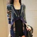 2015 Otoño Nuevo Tamaño chaqueta de Punto Fino Flojo Largo Abrigo Chal Suéter