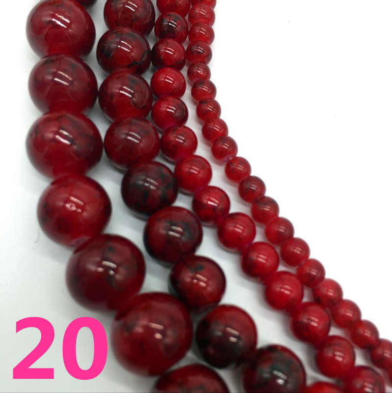 NEW 4 /6 /8 /10 mm Deep red Chic Glass Loose Spacer Charm Beads Pattern DIY Jewelry Making Accessory