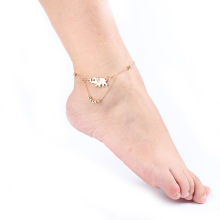 Wholesale Cute Elephant Fashion Foot Jewelry Women Anklets Bracelet Vintage Rose Gold Plated Leg Chain