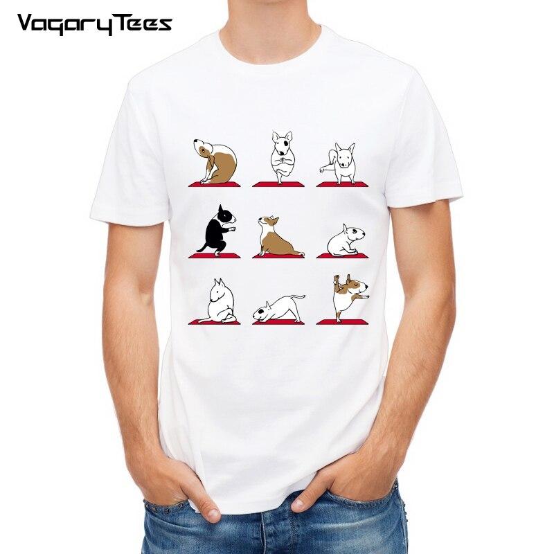 Summer Men   T     Shirts   Animal funny design Men   t  -  shirt   Bull Terrier/Shiba Pug hipster cool male tops tee