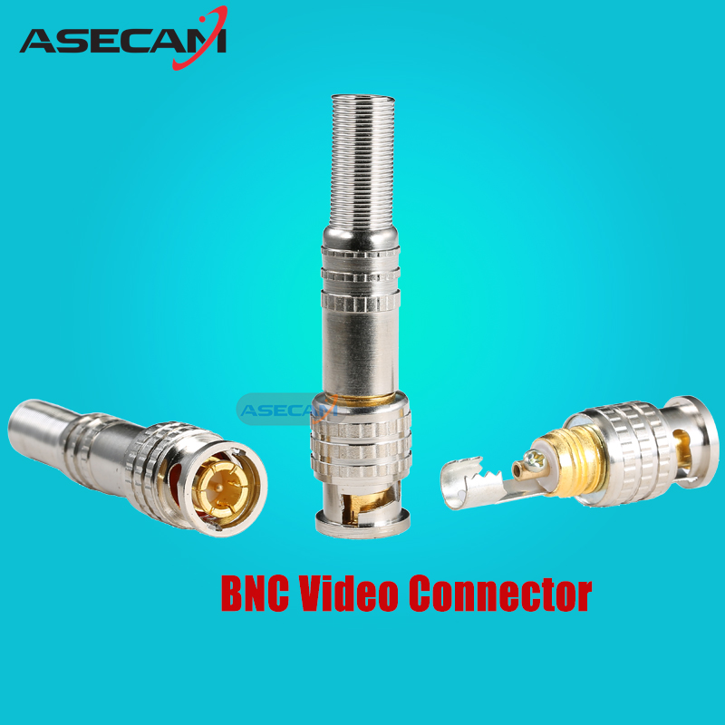 CCTV Accessories PURE COPPER Soldering BNC Video Male Connector Plug to RG59 Coaxial Cable Coupler Adapter for Security Camera evolylcam 25pcs gold bnc male video plug coupler connector to screw for rg59 cable adapter cctv security camera system converter