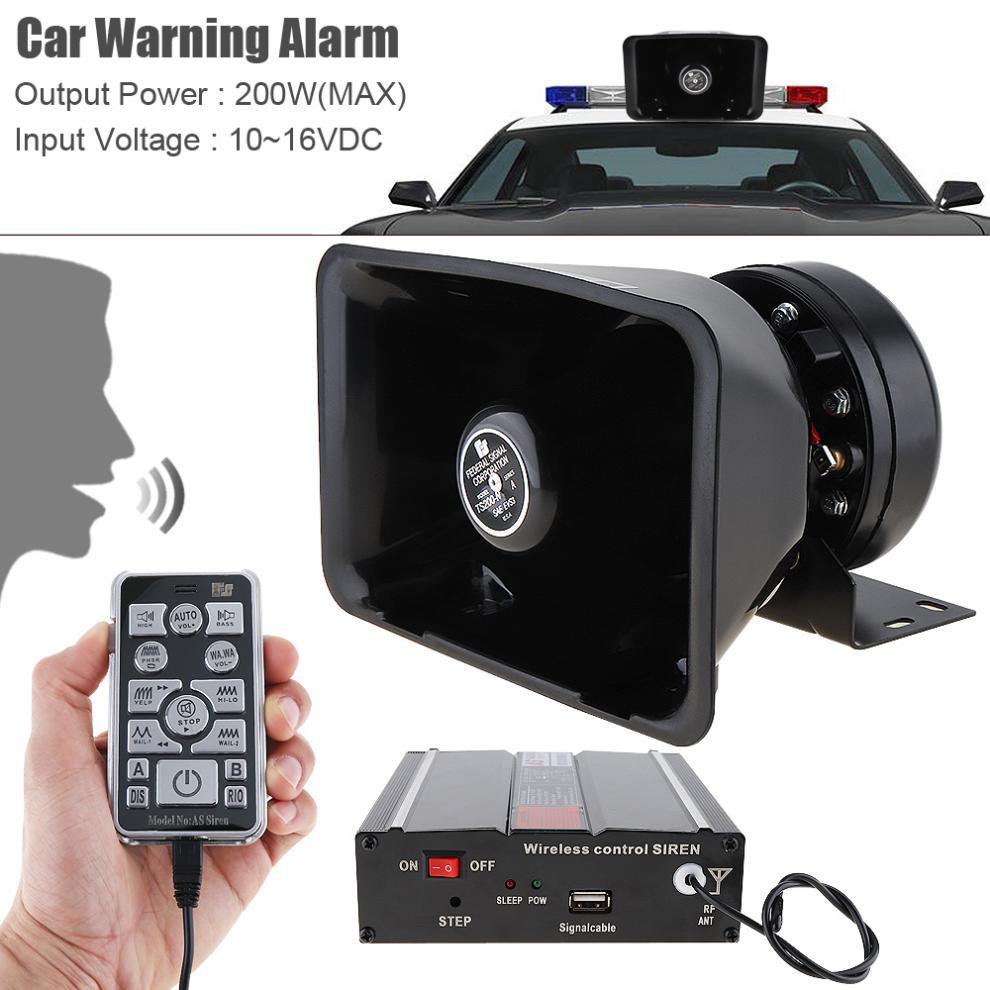 DC12V 200W 18 Tone Car Warning Alarm Police Siren Horn Speaker with MIC System Wireless Remote