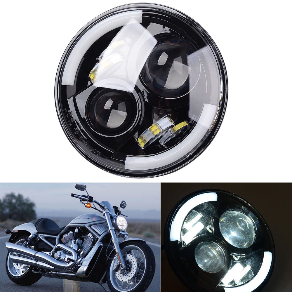 7 faros LED para Harley Davidson cromo de la motocicleta PROYECTOR Daymaker HID llev/ó la bombilla