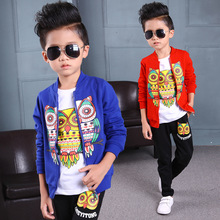 Three pieces/set! baby boys Autumn clothes for 2-14 year with the owl printing new leisure suit clothes for kids child a26138