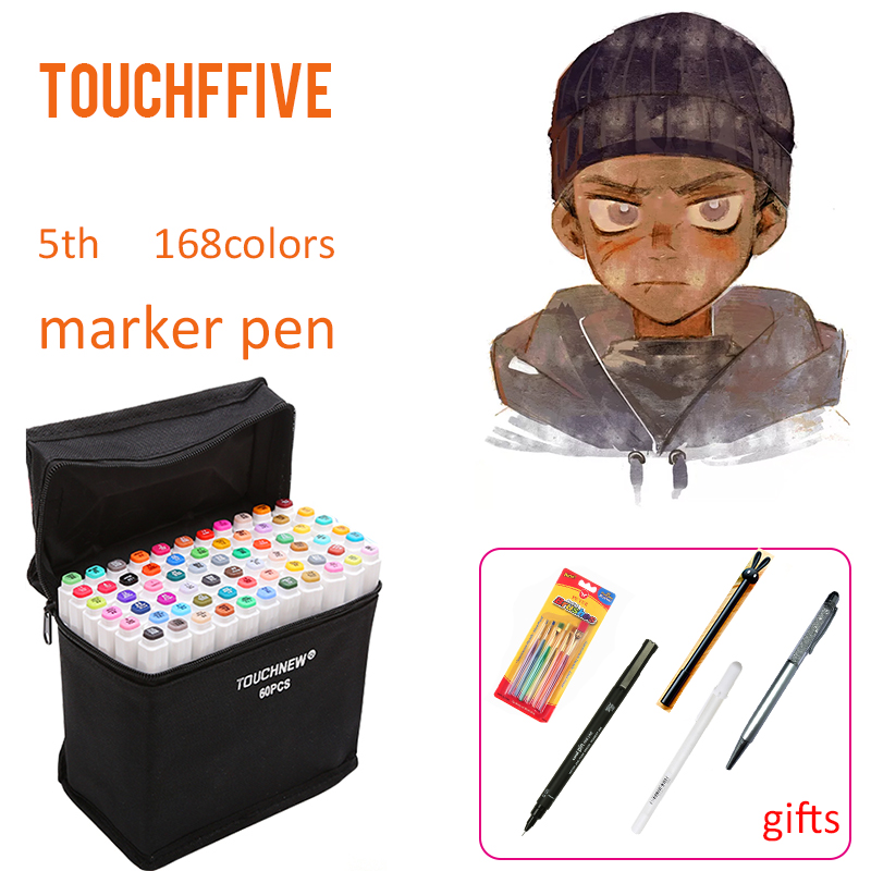 TOUCHFIVE 168 Color Set Art Markers Professional Drawing Supplies For Comic Manga Design Painting Art Supplies touchnew 60 colors artist dual head sketch markers for manga marker school drawing marker pen design supplies 5type