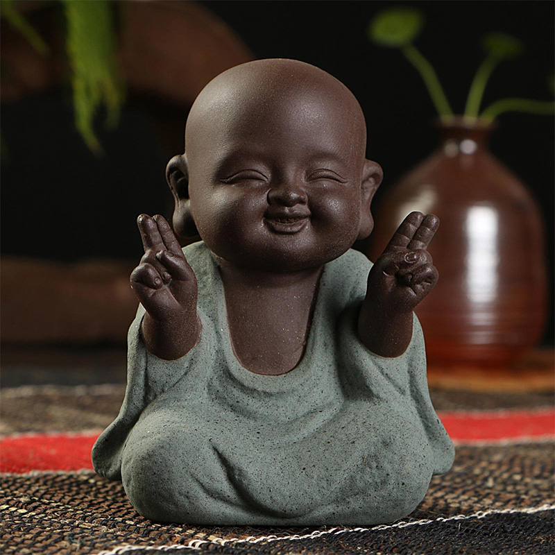 Buddha Statues Small Monk  Color Sand Ceramic Craft Figurine Sculpture Fengshui Sandstone Home Office Decoration