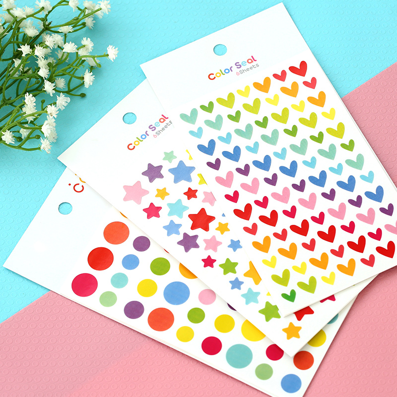 6 Pcs / Pack Cute Love Heart Dot Five-pointed Star Decoration Scrapbooking Paper Stickers Colorful Seal Stationery Post