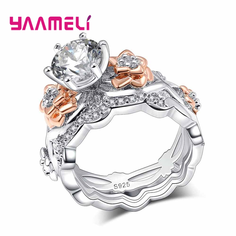 YAAMELI Vintage Top Grade Crystal Wedding Finger Ring 925 sterling-silver-jewelry Flower Design for Women Cocktail Party Gift