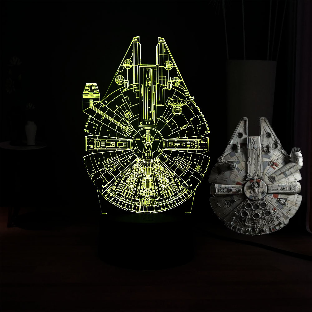 Dream Master Movie Star Wars Falcon 3D Spacecraft RGB 7Color Change LED Acrylic Novel Dec Mood Bedside Table USB Light Kids Gift image