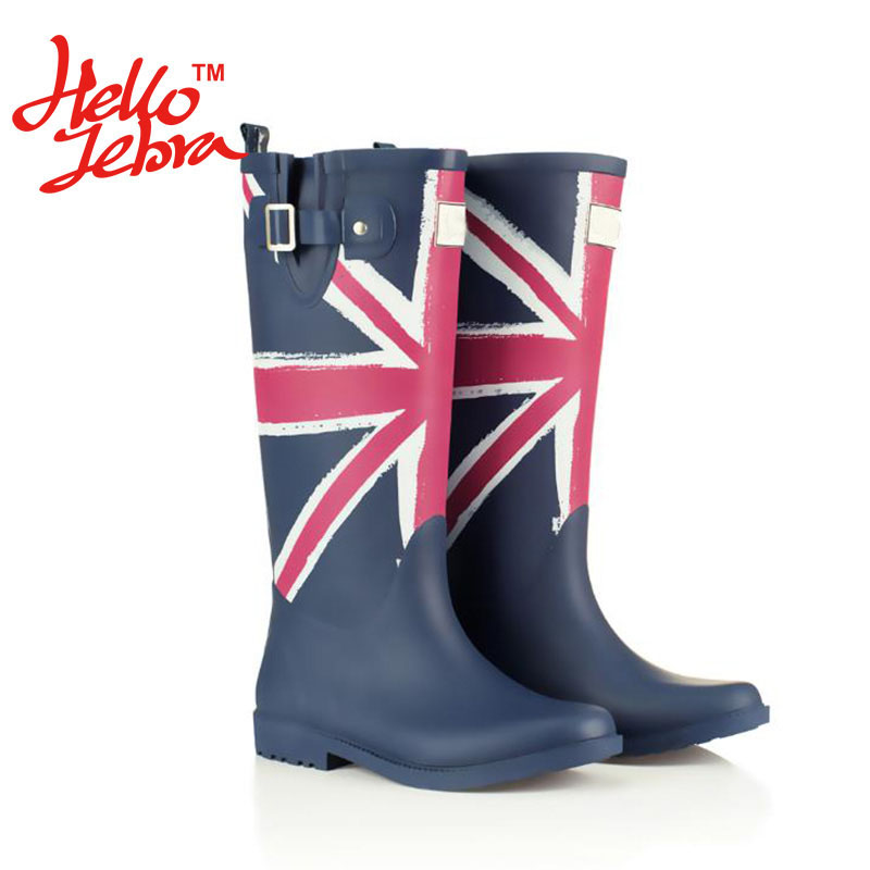Women Fashion Rain Boots Printing Flag Classic Ladies Rubber MIid-Calf Heels Waterproof Buckle Rainboots 2016 New Fashion Design free shipping fashion madam featherweight rubber boots rainboots gumboots waterproof fishing rain boots motorcycle boots