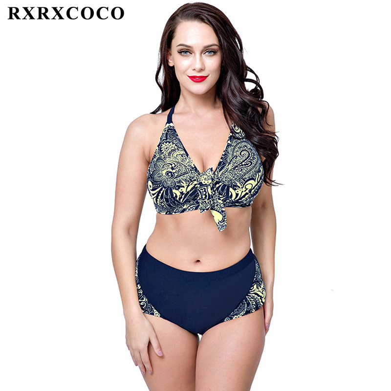 RXRXCOCO New Sexy Plus Size Swimwear Women Bikini Set Printed Bathing Suit Push Up High Waist Swimsuits Bikini 2017 Bandage Suit summer sexy swimsuit vintage high waist bikini retro push up swimwear women plus size bathing suit printed floral bikinis set
