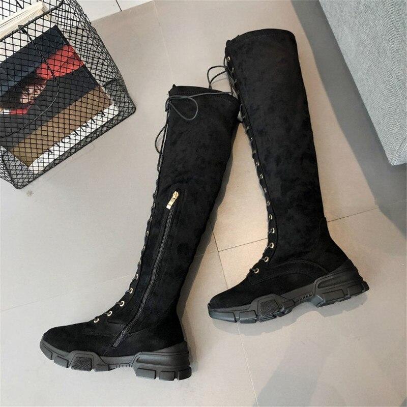Style Bottes Dentelle Chaussures Du Fourrure Daim Appartements dessus Maziao Femme De Haute Rome Femmes Au Cuisse Genou Noir zqq0Ir