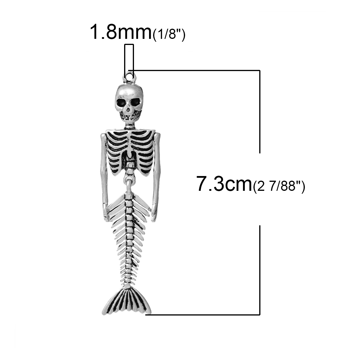 3pcs vintage mermaid body skull skeleton shaped pendants antique holloween necklaces pendants for jewelry making diy charms in pendants from jewelry  [ 1200 x 1200 Pixel ]