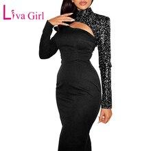 Liva girl LVIA Sexy One Sequin Midi Dress Women Turtleneck Long Sleeve  Party Dresses 3c4eefaddbf1