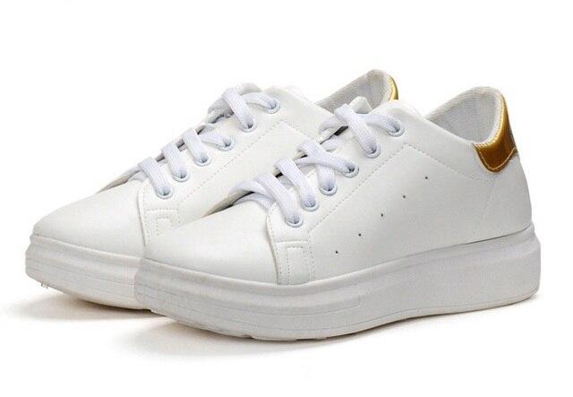 Женщины мода дышащая повседневная обувь zapatos де mujer студент школы платформы белые туфли леди досуг кожа pu прохладный обувь