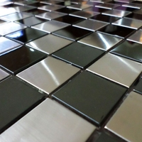 30mm square silver mixed black chess board stainless steel metal tiles for kitchen backsplash wall mosaic tiles HME8101