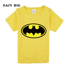 Heights:80-130CM Cotton Summer Batman Style Unisex Children Boys T-shirts Short-Sleeved Candy-Colors Kids Girls Tshirts CC0079