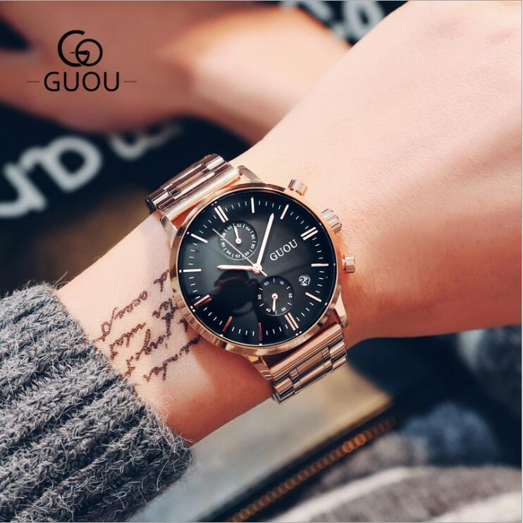 GUOU Men Watch Top Grade Brand Man Watches Luxury Male Quartz Clocks Stainless Steel Watches Business Man WristWatches saat burei man watch rose gold quartz wristwatches top stainless steel clocks male luxury black dial day and date watches for men