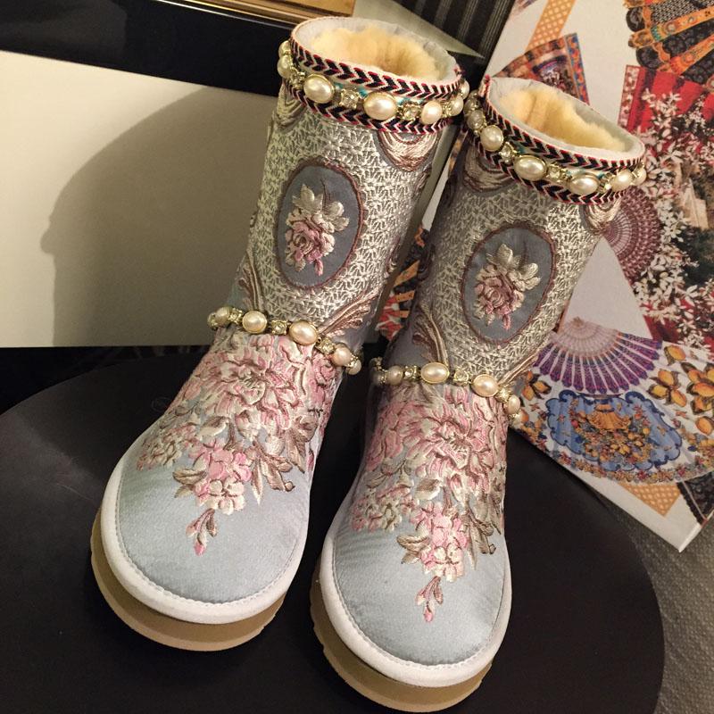 Invierno La Para Botas Pic As as Piel Caliente Bordado Las Seda Mujeres Zapatos Mujer Pic De Nieve rr80xwq1