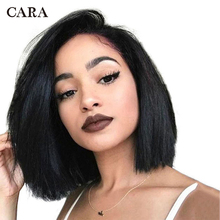Short Bob Lace Front Human Hair Wigs 150% With Baby Hair Pre Plucked CARA Wavy Brazilian Remy Hair Bleached Knots