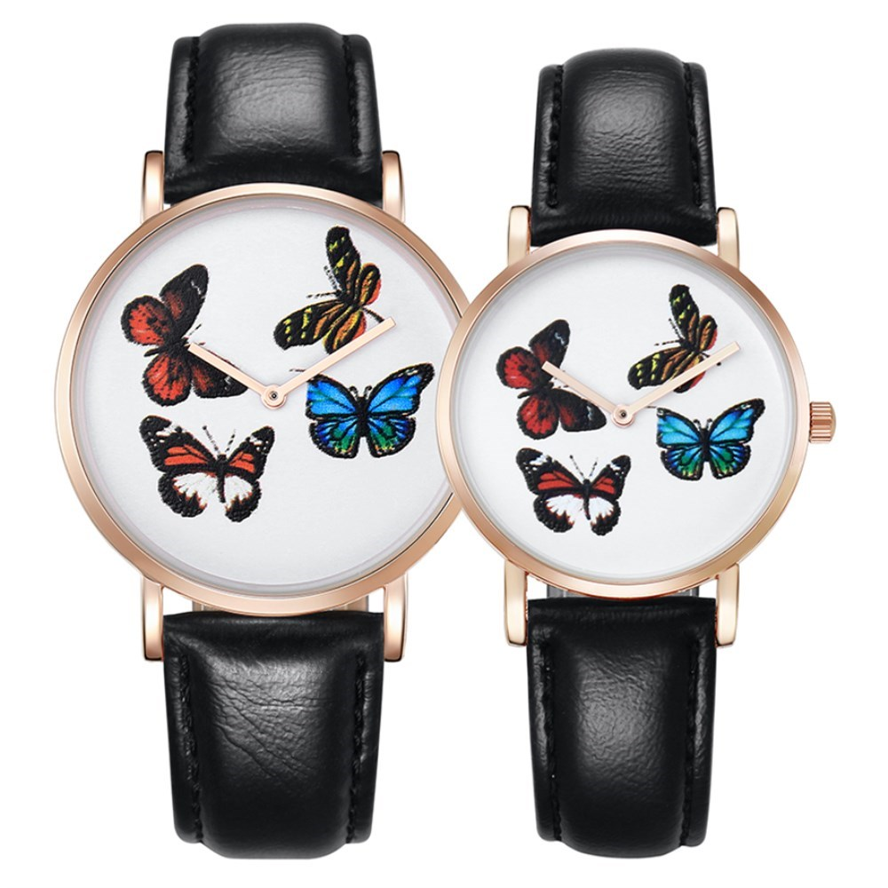 CAGARNY Women Leather Strap Watches Lovers Wristwatches Ladies Butterfly Ultra Thin Dial Quartz Hours Fashion Womans Hand Watch
