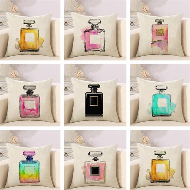 Bottiglie di profumo di cotone di tela creativo cuscino della copertura