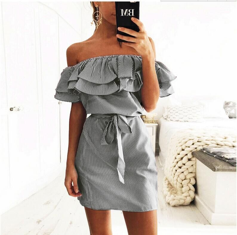 Dresses Women 2018 fashion plus size Lotus Sexy summer dress belt slash collar off Shoulder sashes mini Dress Vestidos EFF6167