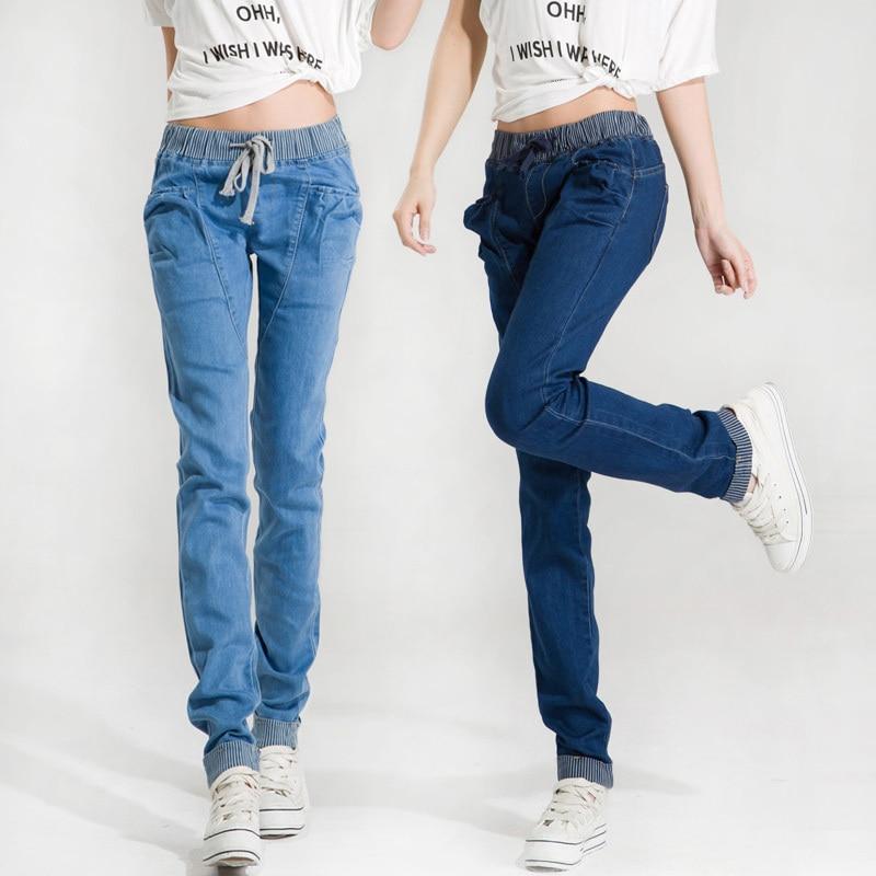 ac8c02620e Moda Mujer Pantalones Casuales Estilo de Bolsillo Más El Tamaño de Cintura  Elástica Señoras Lápiz Pantalones de Mezclilla de Color Azul Oscuro Azul  Claro ...