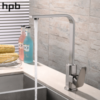 HPB Kitchen Faucets Hot And Cold Water Mixer Tap Brass Chrome Polish Brushed Finish 360 Degree