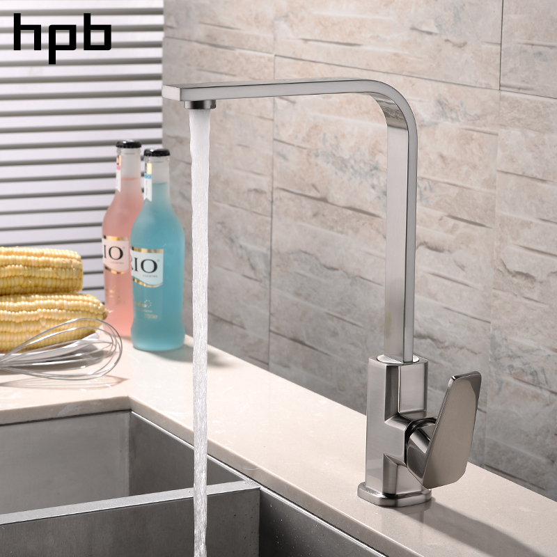 HPB Kitchen Faucets Hot And Cold Water Mixer Tap Brass Chrome Polish Brushed Finish 360 Degree Rotation Single Handle HP4A12 gizero free shipping orange spring kitchen faucet brushed nickle finish single handle hot cold water crane mixing tap gi2069