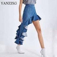 2019 Spring Summer New Pattern High Waist Denim Patchwork Asymmetrical Ruffles Casaul Skirt Women Fashion Tide Z231