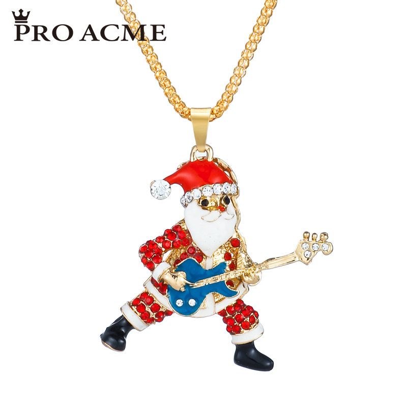 Pro Acme Crystal Guitar Santa Claus Sweater Chain Necklaces & Pendants Enamel Women Long Necklace Christmas Gift Jewelry PN0814