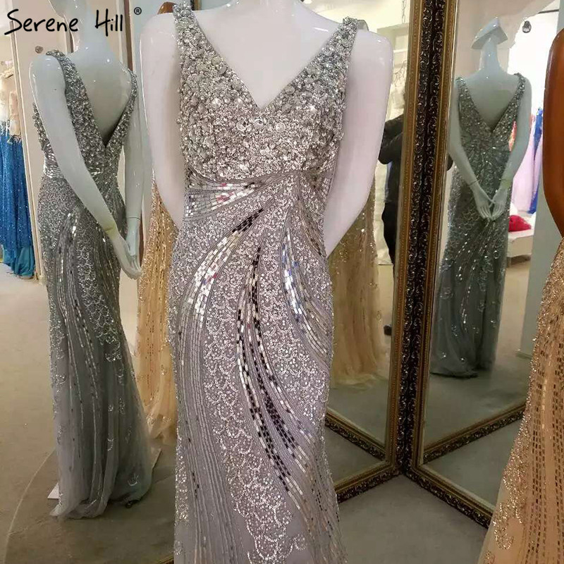 Gold V-neck Beading Sequined Luxury Evening Dresses Long Mermaid Sleeveless Formal Evening Gown 2019 Real Photo La6075 Weddings & Events