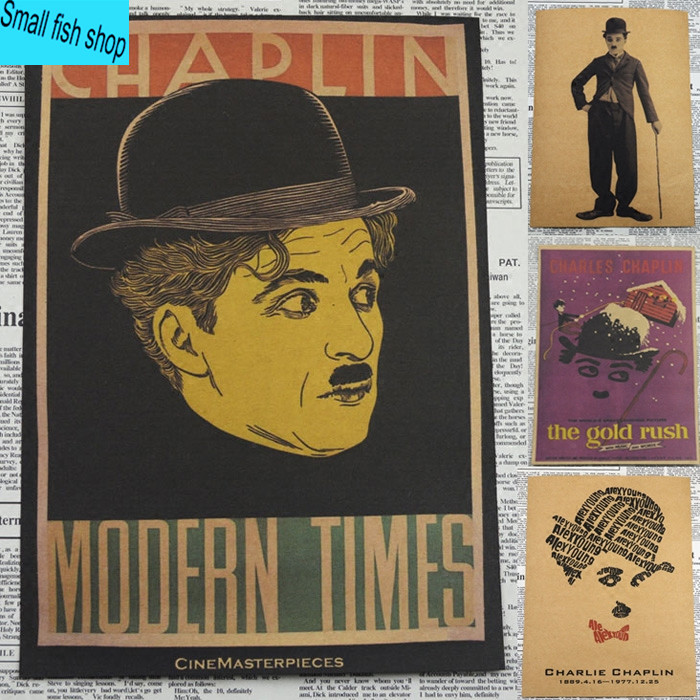 Chaplin Comedy Movie Poster Retro nostalgia B gather Home Furnishing decoration Kraft Movie Poster Drawing core Wall stickers