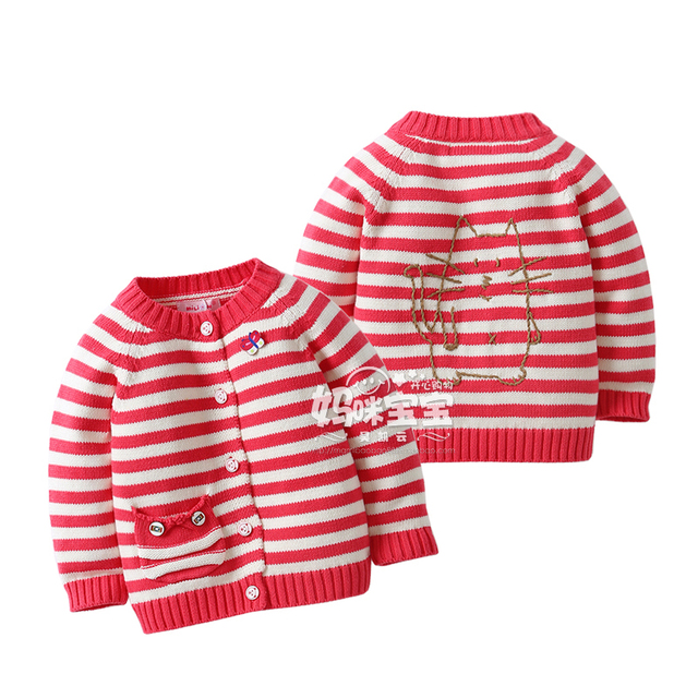 New 2015 Spring Autumn girls sweaters Kids clothes baby girls cardigan sweater coat children striped jackets knitted sweater