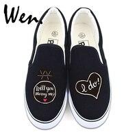 Wen Wedding Shoes Unisex White Black Slip On Flat Shoes Design Custom Propose Marry Me I