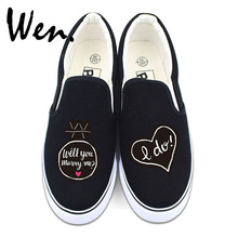 Wen Wedding Shoes Unisex White Black Slip On Flat Shoes Design Custom Propose Marry Me I Do Original Canvas Sneakers