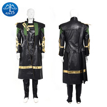 ManLuYunXiao 2017 Loki Cosplay Costume The Avengers Adult Men Full Suit Any size Roleplay Black Full Suit T Shirt Free Shipping