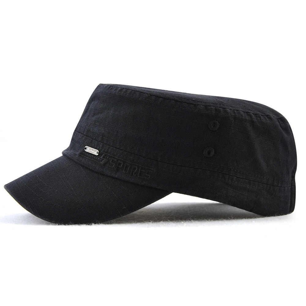 db1e82f7ef91 Gorra de cadete de estilo militar hombres mujeres de Color puro lavado de  algodón tapa superior plana verano otoño ajustable Chapeau visera sombrero