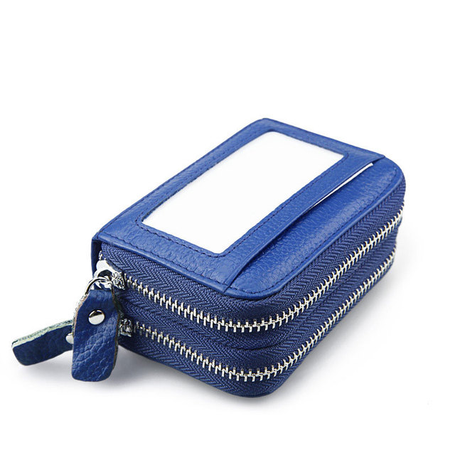 KEVIN YUN Genuine Leather Double Zipper Large Capacity Card Case Wallet For